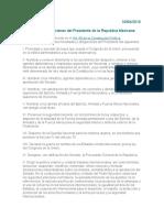 Facultades y Obligaciones Del Presidente de La Republica Mexicana