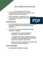 ESPCCIFICAÇÕES FUNCIONAIS