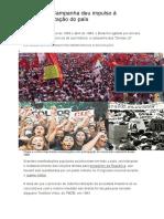 Diretas Já Campanha Deu Impulso à Redemocratização Do País