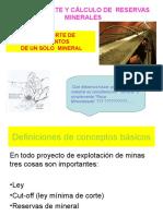 Ley de corte y cálculo de Reservas Minerales