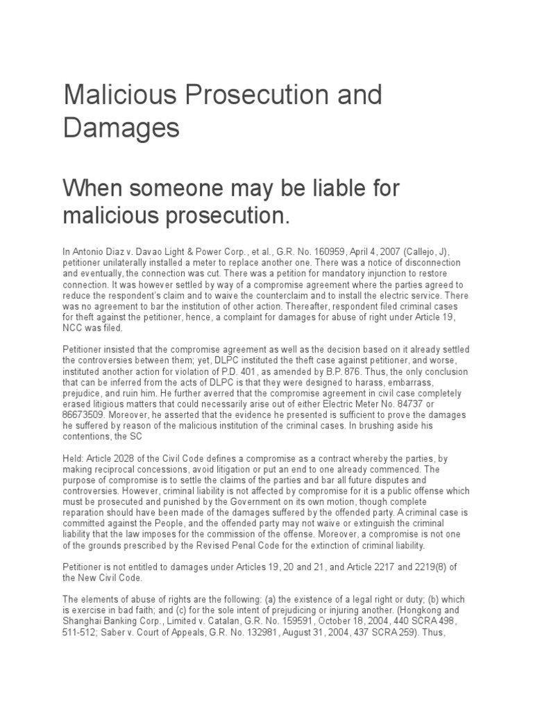 Malicious Prosecution and Damages | Damages | Malicious Prosecution