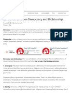 Difference Between Democracy and Dictatorship - Important India
