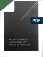 Lineamientos Para La Elaboracion de Los Trabajos de Titulacion Modalidad Proyecto de Investigacion