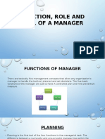 Function, Role and Skill of a Manager