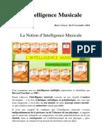 L'Intelligence Musicale Conférence Mon's Livres 26-27 Novembre 2016 Première Partie