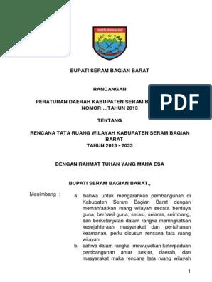 Maluku Raperda Rtrw Sbb