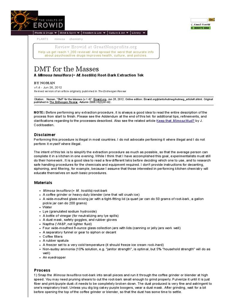 Erowid Mimosa (Jurema) Vault - DMT for the Masses | Sodium