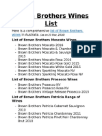 Brown Brothers Wines List