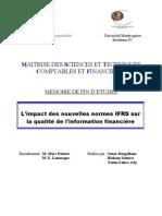 L Impact Des Nouvelles Normes IFRS Sur La Qualite de l Information Financiere