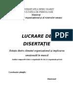 Relatia dintre Climatul Organizational si Implicarea Emotionala in Munca.doc