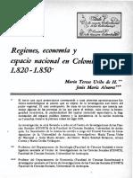 Regiones, Economía y Espacio Nacional en Colombia