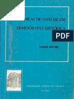 HENRY, Louis. Técnicas de Análise Em Demografia Histórica. Curitiba, UFPR, 1977