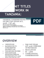 Tenga, Ringo & Sist Joseph 'The Unit Titles Act Framework - Some General Considerations' Registrar of Titles Officers Workshop, Lamada Inn, Dar Es Salaam,  March 15, 2010