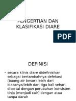 Pengertian Dan Klasifikasi Diare