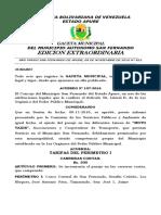 Gaceta Nº 852-2016, Aumento Moto Taxis del municipio San Fernando.