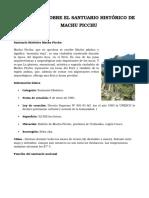 Informe Sobre El Santuario Historico de Machu Picchu