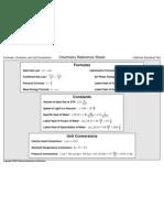 Chemistry Formula Reference Sheet