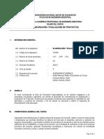 Sílabo Elaboracion y Evaluacion de Proyectos 2016-I (1)