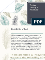 Validaity and Reliability