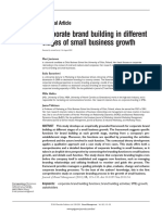 Corporate Brand Building in Different Stages of Small Business Growth