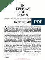 In Defense of Chaos, Ben Shahn