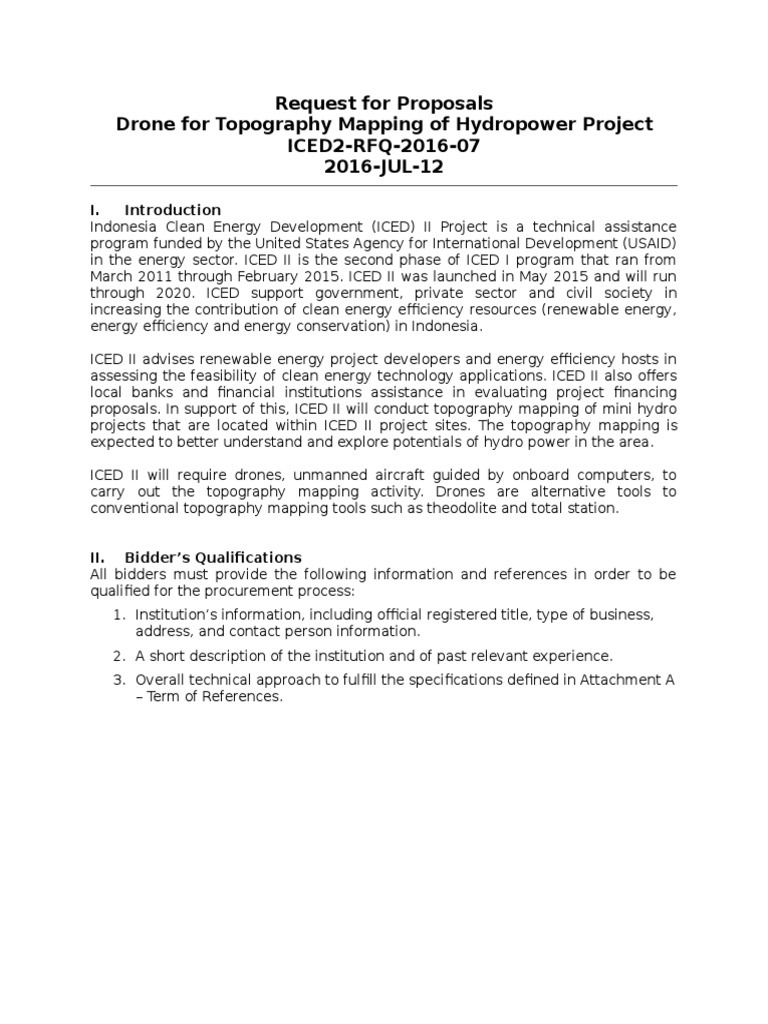 ICED2 RFP 2016 07 Drone for Topography Mapping AC 1307 | Request For