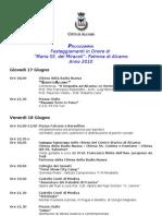 Programma Festa della Madonna 2010, Alcamo.