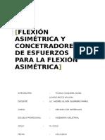 Flexion Asimetrica y Concentracion de Esfuerzo