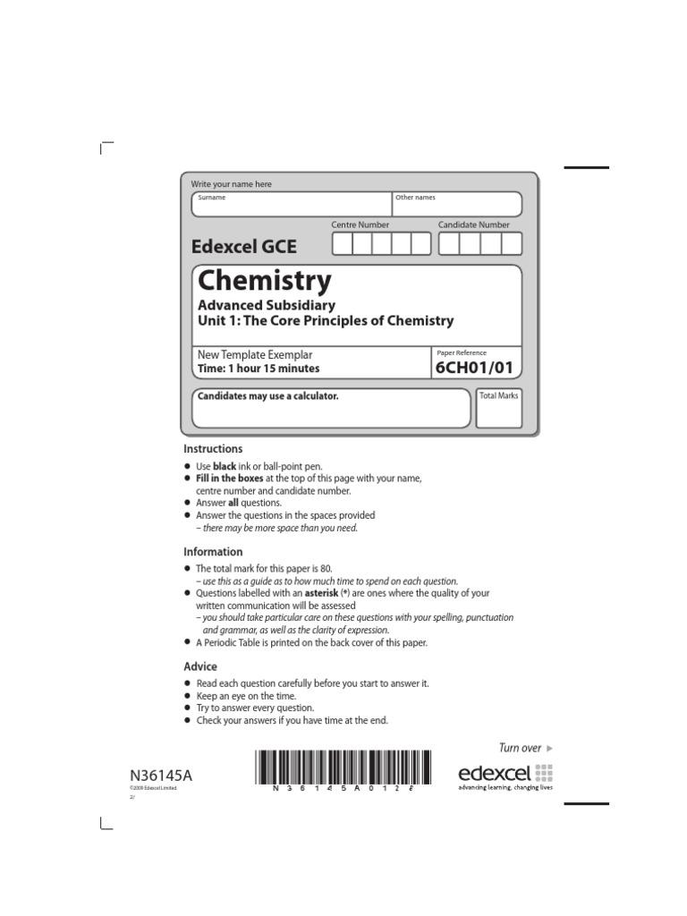 Edexcel gce chemistry unit 1 chemistry physical sciences urtaz Images