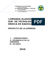 Proyecto de i Jornada Alasina Del Sur de Tecnologia Medica en Radiologia