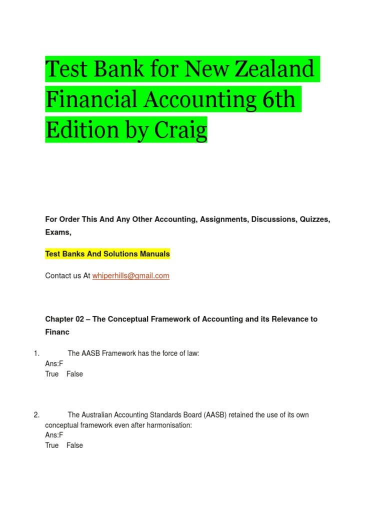 Test Bank for New Zealand Financial Accounting 6th Edition by Craig.docx |  Financial Statement | Financial Accounting Standards Board