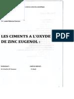Les Ciments à l'Oxydes de Zinc Eugénol