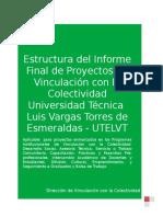 Formato Informe Final de Proyectos de Vinculacion