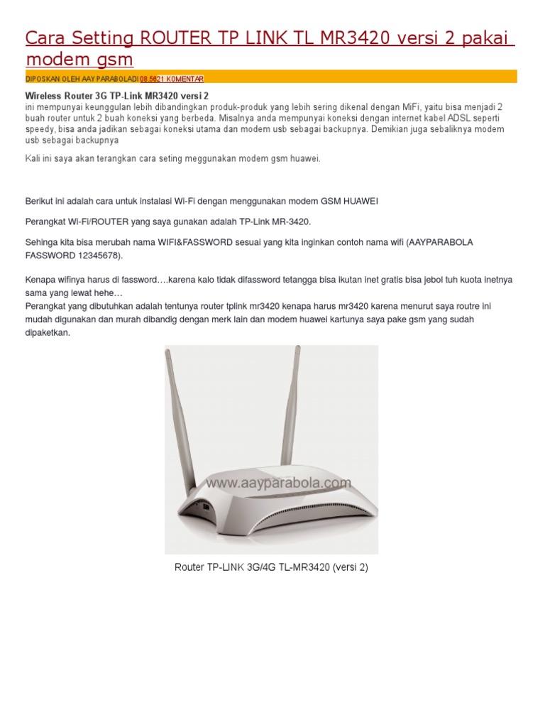 Cara Setting Router Tp Link Tl Mr3420 Versi 2 Pakai Modem Gsm Tplink Wireless N 1530282620v1