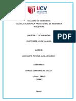 Artículo de Opinión - Luis Anchante Fiestas