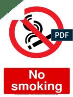 No Smoking Prohibition Sign 2
