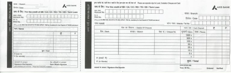 Axis Bank Deposit Slip Pdf