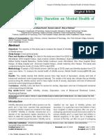 Impact of Infertility Duration on Mental Health of Infertile Women