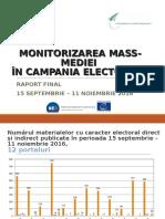 Raport final de monitorizare a prtalurilor on-line și ziare în campania electorală pentru alegerile prezidențiale