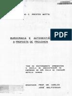 MOTTA, Fernando Prestes - Burocracia e Autogestão - A Proposta de Proudhon.pdf