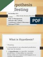 Hypothesis Testing - By Dr.Giridhar K.V.