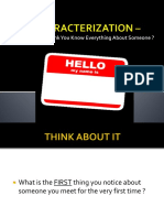 characterization for website