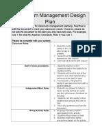 classroom management design plan