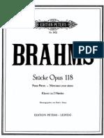 Brahms-Morceaux Pour Piano Opus 118 (Piano)