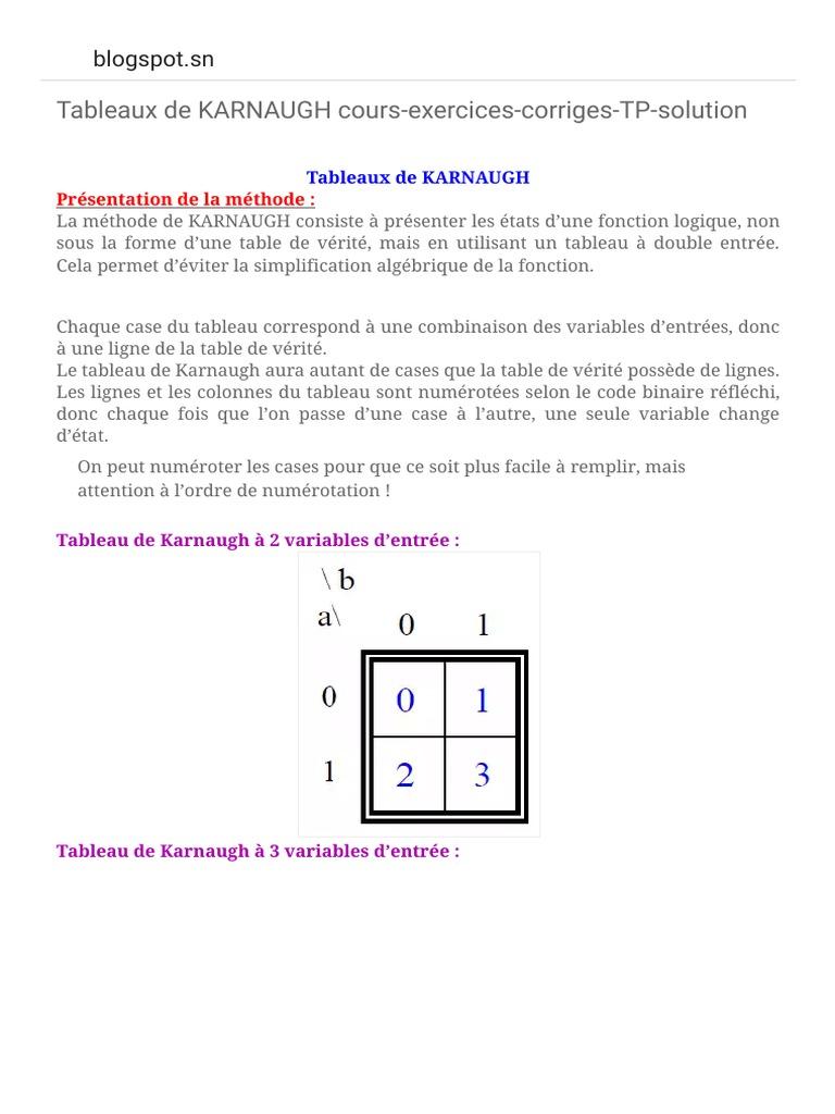 Examens Exercices Astuces Tous Ce Que Vous Voulez Tableaux De Karnaugh Cours Exercices Corriges Tp Solution Pdf Logique Mathematique Logique
