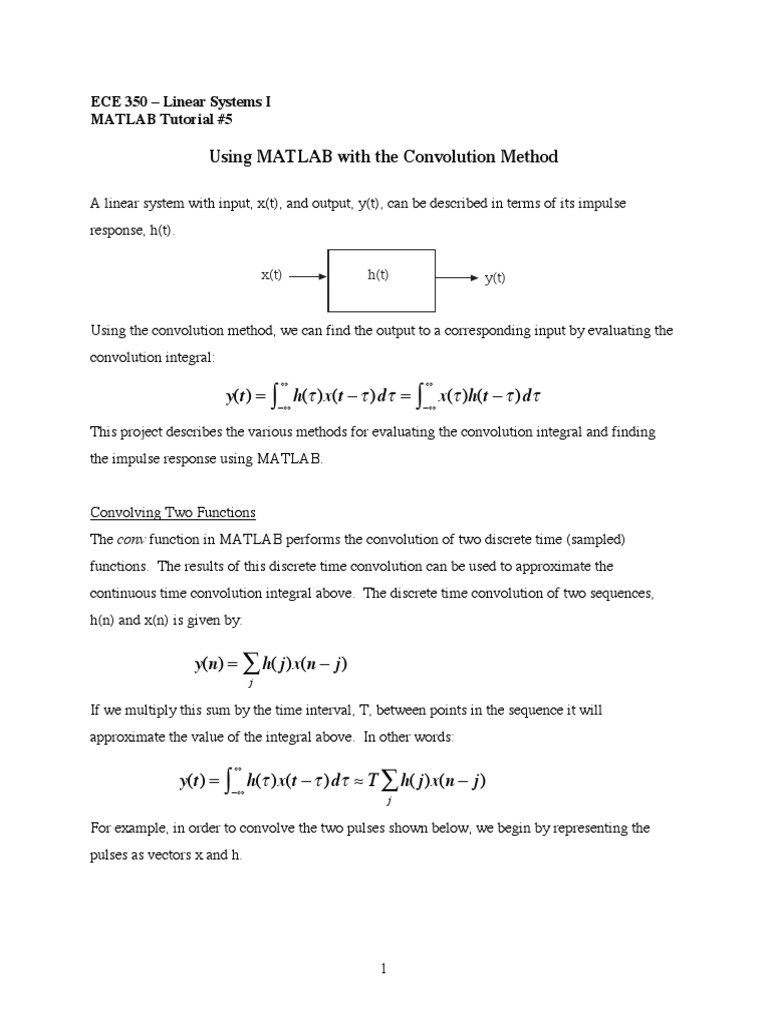 MATLab Tutorial #5 pdf | Convolution | Integral