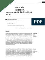 De La Militancia a La Institucionalizacion La Experiencia de Arteon en Los 70