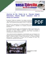 """Alumnos de 6to. Grado de la  Escuela Integral Bolivariana """"Alberto Ravell"""" realizaron visita al campo de Carabobo"""
