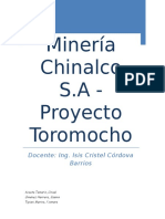 Proyecto Toromocho Minera Chinalco S.a Trabajo Monografico