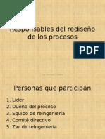 8. Responsables del rediseño de los procesos